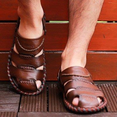 涼 鞋 真皮拖鞋-英倫復古包頭羅馬男鞋子2色73sa5[獨家進口][米蘭精品]