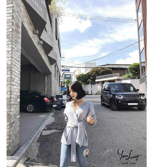 【Luxury】正韓  性感小心機 長袖針織衫 chic 百搭 寬松 交叉 V領 長袖 綁帶 收腰 顯瘦 針織開衫毛衣