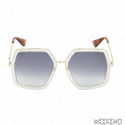 【WEEKEND】 GUCCI Oversized Octagon Bee 蜜蜂 太陽眼鏡 墨鏡 銀色 470458