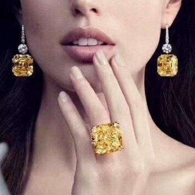 25克拉金鵝黃極光超大黃鑽戒指爪鑲鑽戒...