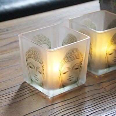 熱銷#玻璃佛像蠟燭臺spa美容會所房間禪意裝飾品家用供奉復古燭臺擺件#燭臺#裝飾