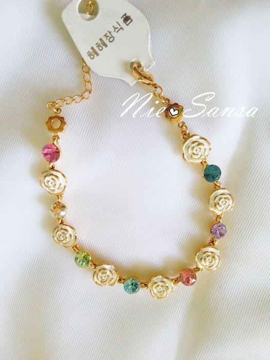 Nie Sansa 現貨特價出清 超美玫瑰花水鑽彩鑽金色手鍊手環飾品