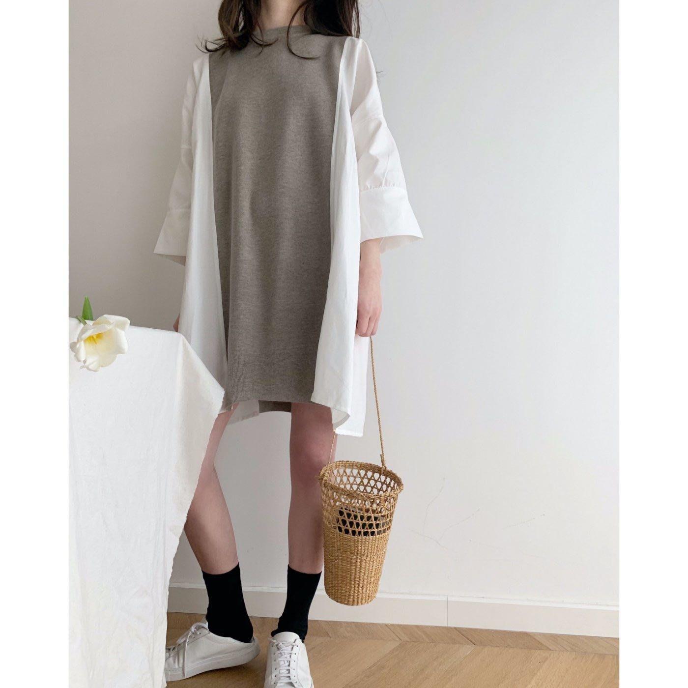I.Season 可甜可閒  - 淺咖色寬鬆慵懶七分袖上衣 可當連身裙洋裝