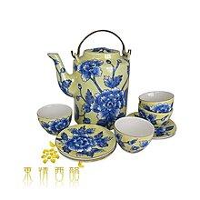 【芮洛蔓 La Romance】 東情西韻系列黃底藍牡丹中式手繪茶具組
