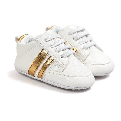 鞋鞋樂園-促銷-軟布底-時尚白金色球鞋-學步鞋-寶寶鞋-嬰兒鞋-幼兒鞋-學走鞋-童鞋-鬆緊帶設計-坐學步車穿-彌月送禮