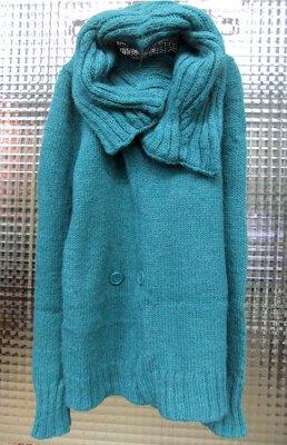 獨身貴族Single noble 深綠色羊駝毛粗針織大翻領保暖外罩衫 修身造型外套 (S)