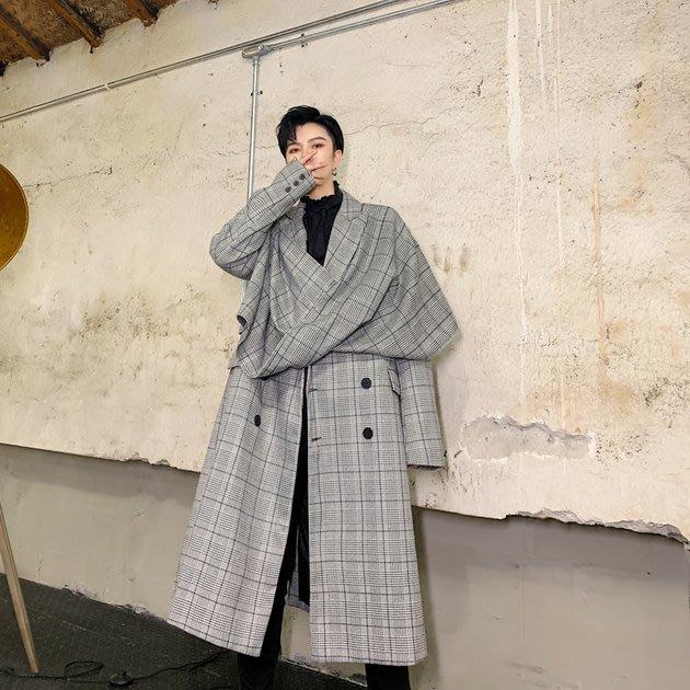 FINDSENSE 2019 秋冬上新 G19  不對稱風衣氣質中長款風衣長大衣男裝百搭寬鬆休閒外套