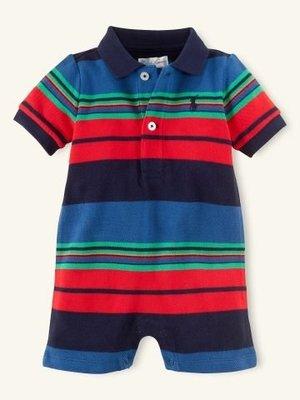 (BJGO) POLO Ralph Lanuren_Baby_Striped Cotton Shortall 小小紳士條紋小馬Logo-連身裝/兔裝 現貨9M