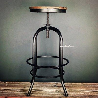 尼克卡樂斯~圓形實木旋轉升降吧檯椅- ...