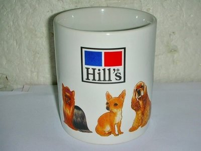 T集.(企業寶寶玩偶娃娃)少見Hill's希爾思造型馬克杯!--值得收藏!/黑箱62/-P