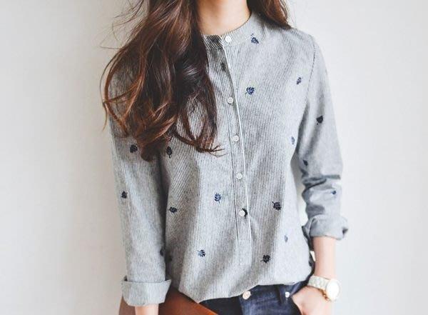 立領楓葉刺繡長袖襯衫 (XA-8188)