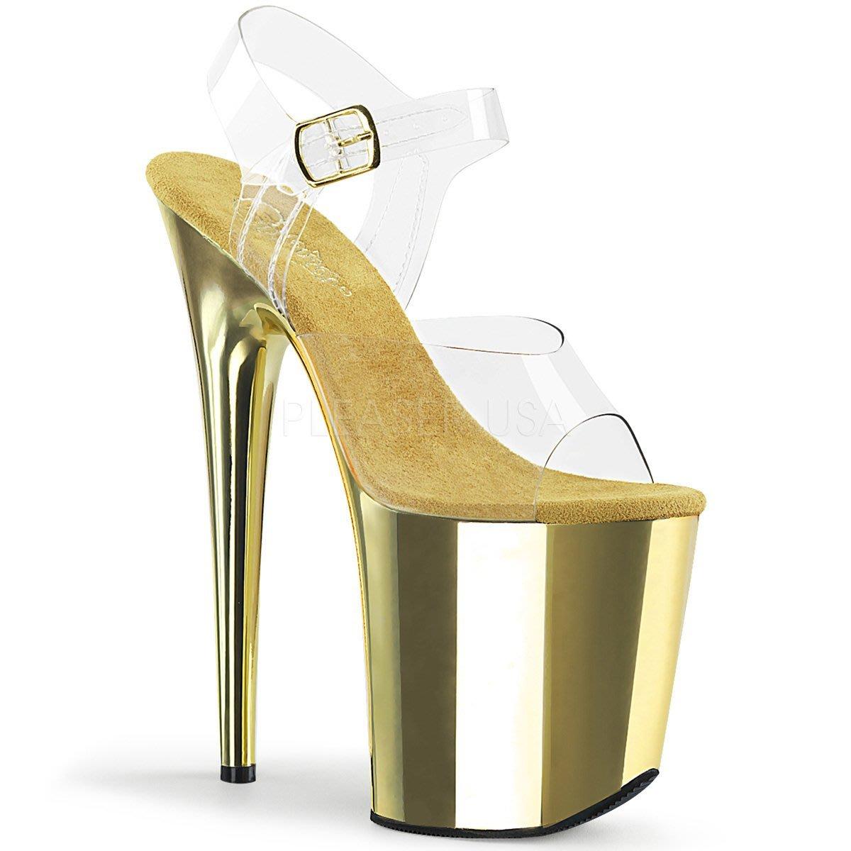 Shoes InStyle《八吋》美國品牌 PLEASER 原廠正品透明金屬鍍鉻極端厚底高跟涼鞋 有大尺碼 『金色』