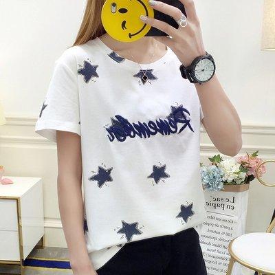 ☆紫米粒小舖☆【R604】圓領 星星刺繡圖案短袖上衣。