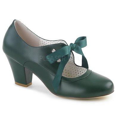 Shoes InStyle《二吋》美國品牌 PIN UP CONTURE 原廠正品瑪莉珍絲帶低跟包鞋 有大尺碼『深綠色』