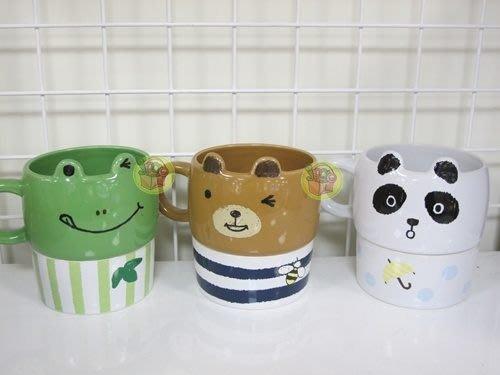 【JPGO日本購】 日本進口 造型馬克杯附點心碗-熊貓#864 青蛙#857 小熊#833