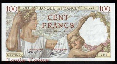 【Louis Coins】B094-FRANCE-1941法國鈔票.100Francs