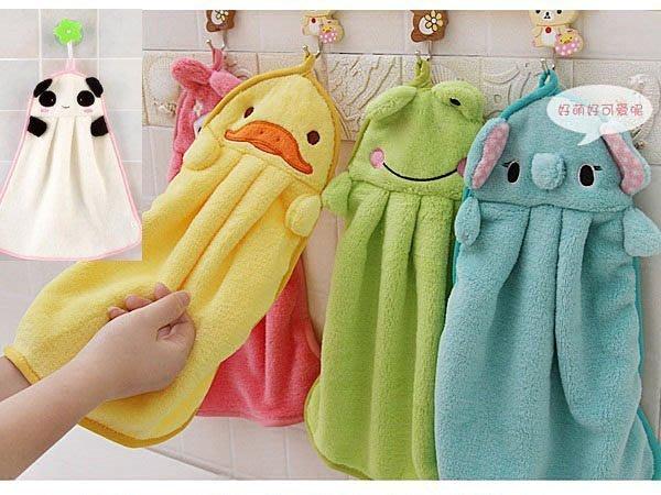 Q媽 可愛動物圖案超柔珊瑚絨卡通毛巾 創意可掛面巾擦手巾