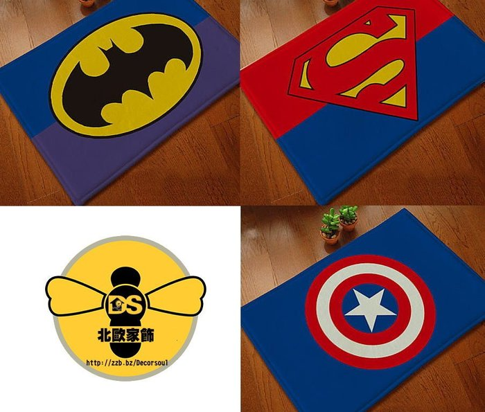 DS北歐家飾§ loft 蝙蝠俠正義聯盟復仇者聯盟美國隊長新超人 英雄系列腳墊防滑門墊 浴室地墊地毯 40*60CM美式