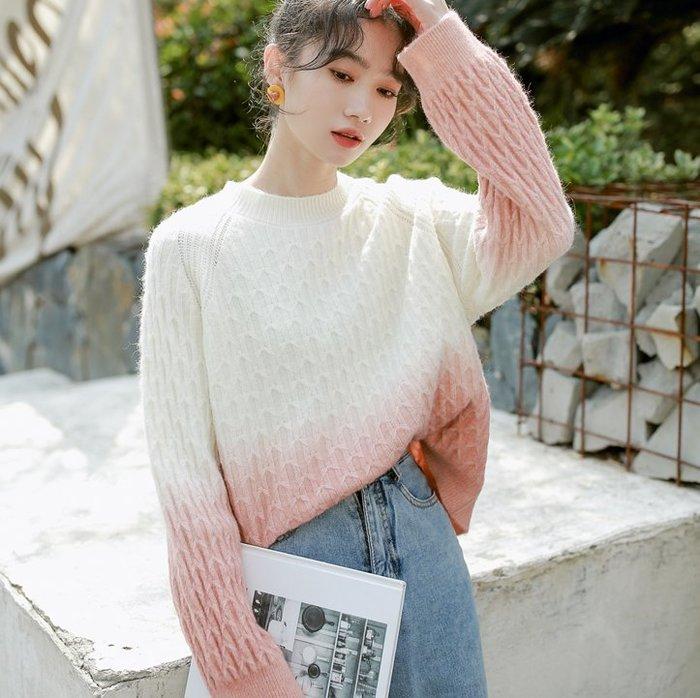 SEYES 復古自然風韓系百搭漸層色毛衣