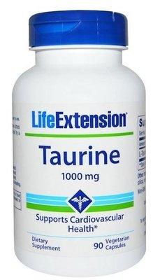 美國 Life Extension,牛磺酸(Taurine)1000mg,90粒素食膠囊(頂級品牌)*百合麻雀*