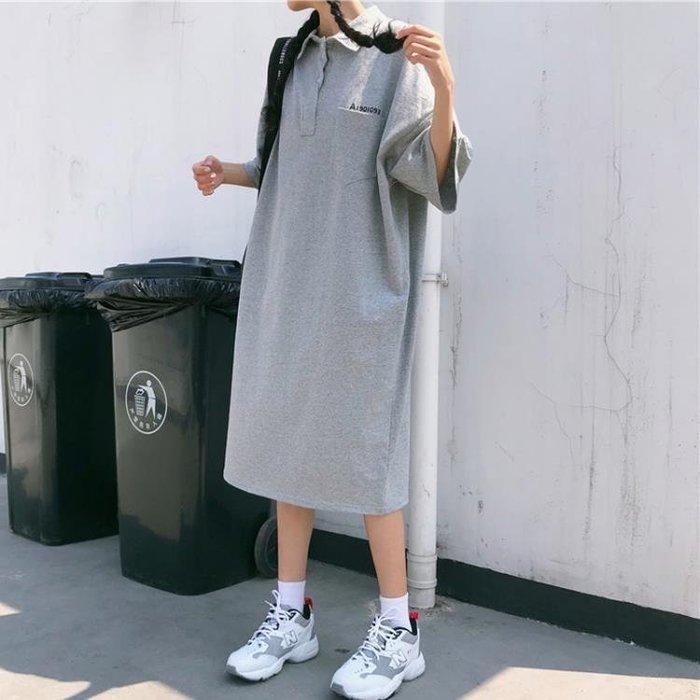 2019年早春上衣新款短袖中長款寬鬆T恤洋裝女裝韓版學生ins百搭