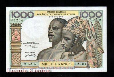【Louis Coins】B097-WEST AFRICAN STATES-1959-65西非鈔票.1000Francs