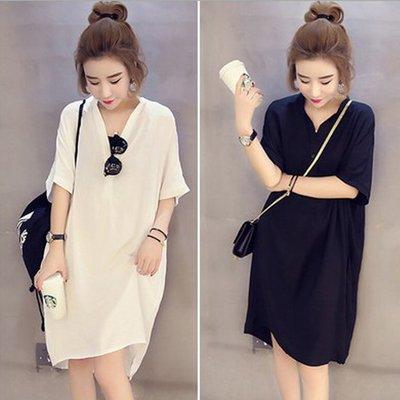 糖衣子輕鬆購【HY6536】韓版時尚寬鬆V領潮流5分袖長版襯衫