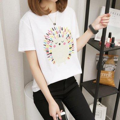 短袖t恤 2019新款小衫大碼女裝夏天胖mm棉質白色打底衫寬鬆上衣服【主流元素】