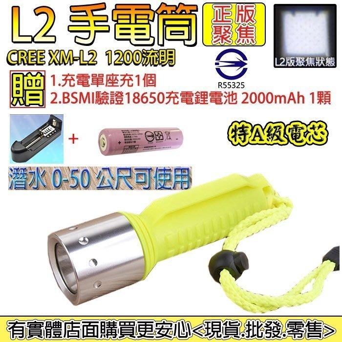 27044-137-興雲網購3店【L2手電筒2000mAh配套】CREE XM-L2強光潛水手電筒 頭燈 工作燈