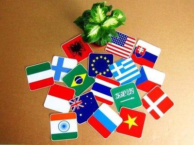 【國旗貼紙專賣店】正方形世界各國旗防水、抗UV各貼紙/各國、多尺寸都有販賣