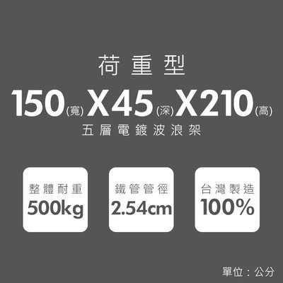 鐵架【荷重型 150x45x210cm 電鍍五層架】整體耐重500kg【架式館】波浪架/鐵力士架/層架/組合架/鐵架衣櫥