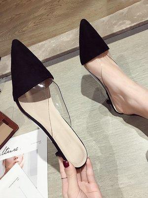 小尤家~ulzzang拖鞋女夏季新款外穿透明網紅高跟鞋絨面韓版百搭涼拖