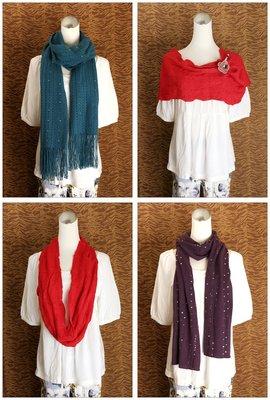 ☆╮天天購物趣╭☆ 土耳其藍編織流蘇圍巾+紫色亮片為金+紅色造型圍巾~得標共3條!