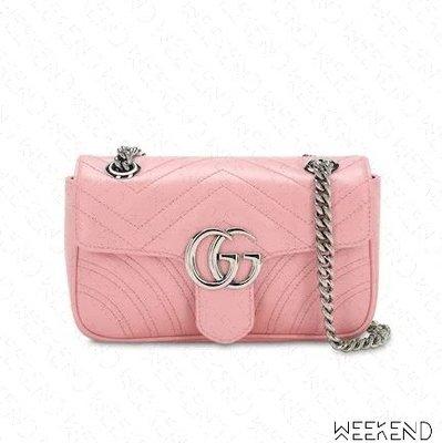 【WEEKEND】 GUCCI Mini GG Marmont 皮革 迷你款 肩背包 淺粉色 446744