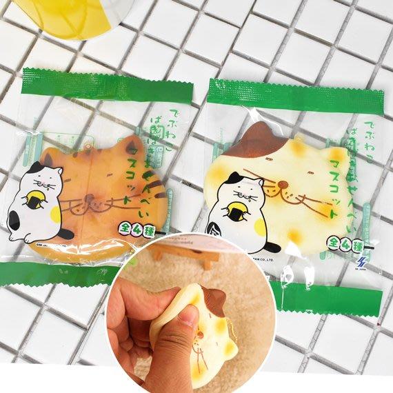 【鉛筆巴士】現貨! 餅乾貓咪捏捏樂 掛飾 日本原裝(可摺疊喀喀聲) 軟軟吊飾 紓壓squishy 仙貝玩具JP07029