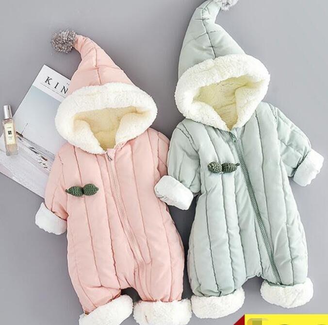 睡袋 抱被 嬰兒羽絨棉服連體衣 加厚冬裝爬服 男女寶寶保暖冬季外出連身抱衣潮—莎芭