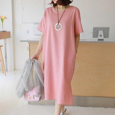 韓系棉麻開叉連身裙 亞麻素面寬鬆開叉短袖洋裝 艾爾莎【TGK7766】