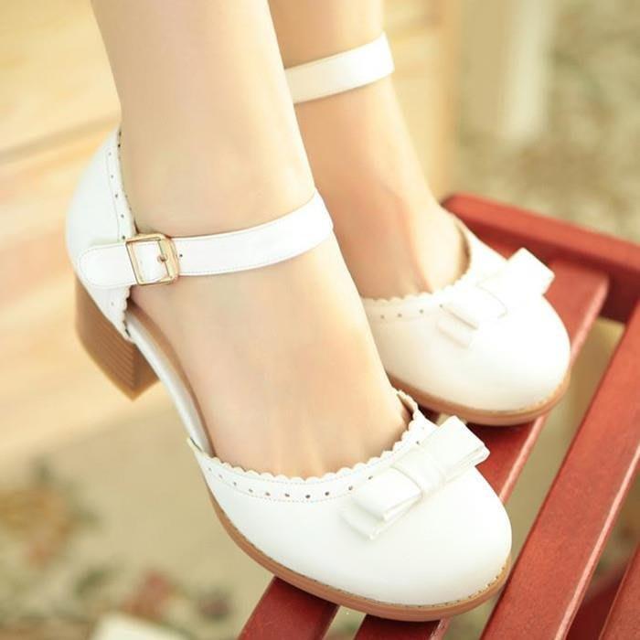 春夏粗跟中跟鞋 白色搭扣單鞋 娃娃鞋圓頭森女夏天鞋子女學生