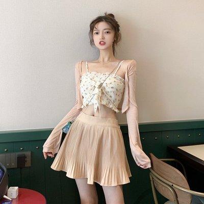 春季套裝女針織開衫防曬外搭+褶皺高腰半身裙+蝴蝶結碎花吊帶背心