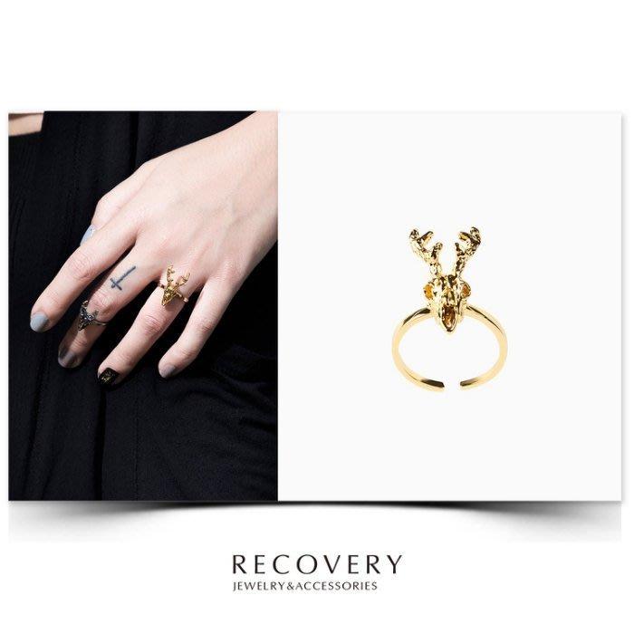 美國東村【Recovery】Deer Skull Ring 鹿頭骨 戒指 亮金 古銀