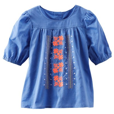 《Cupio》現貨童裝 OshKosh Embroidered Peasant Top 民族風刺繡五分袖長T (4y)