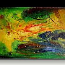 【 金王記拍寶網 】U995 朱德群 款 抽象 手繪原作 厚麻布油畫一張 罕見 稀少 藝術無價~