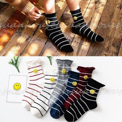 韓國襪 笑臉 條紋 襪子 女襪 棉襪 短襪