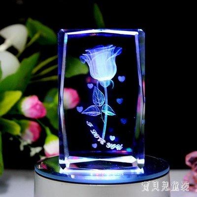 水晶3D內雕玫瑰花音樂盒 發光旋轉生日禮物送女朋友 BF19920   免運