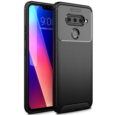 防摔LG V40 ThinQ /V50 ThinQ/G8 ThinQ碳纖維紋手機殼 全包邊保護殼 TPU 軟殼 黑色