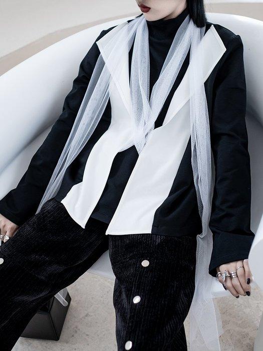 【鈷藍家】暗黑哲學原創休閑撞色套頭T恤衛衣女春秋高街設計感假兩件個性拼紗上衣cs
