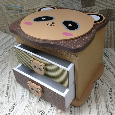 章魚球百貨【0101009】3款(可挑款)超萌熊貓木製首飾盒 化妝盒 收納盒 置物盒 飾品盒 珠寶盒