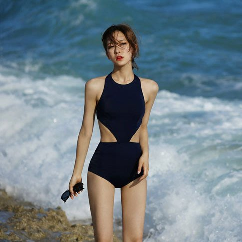 泳衣 女保守連體高領挂脖小胸聚攏性感露背遮肚顯瘦度假溫泉泳裝 比基尼 —莎芭
