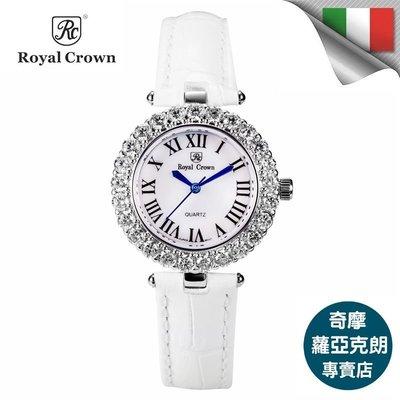 日本機芯6305P 金色華貴氣質鑲鑽手錶 金屬鑲鑽鏈帶  歐洲 義大利品牌精品女錶 蘿亞克朗 Royal Crown