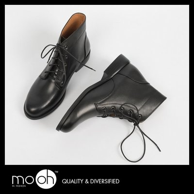 英倫經典綁帶真皮馬丁短靴 mo.oh (歐美鞋款)